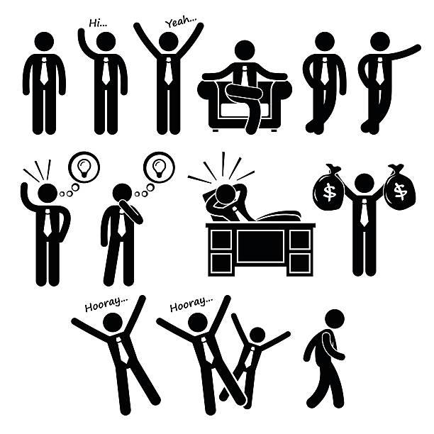 erfolgreiche glücklich geschäftsmann posiert stick figure pictogram icons - entspannungsmethoden stock-grafiken, -clipart, -cartoons und -symbole
