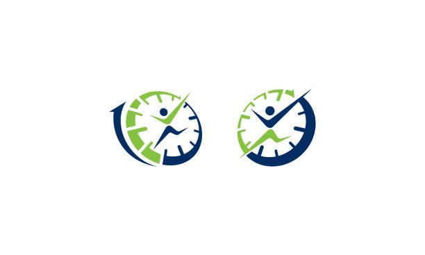 erfolgreichen zeit vektor icon logo - entspannungsmethoden stock-grafiken, -clipart, -cartoons und -symbole
