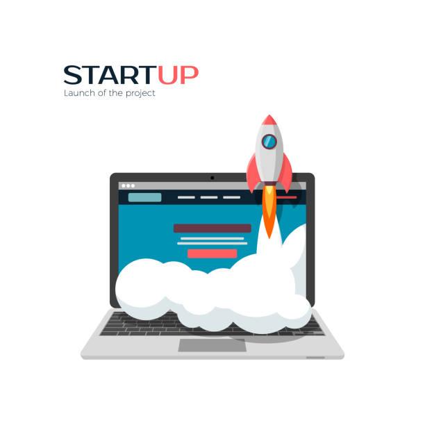 illustrations, cliparts, dessins animés et icônes de succès du lancement du projet de démarrage. illustration vectorielle - décoller activité