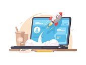 Successful launch of startup. Rocket flies up from laptop. Vector illustration