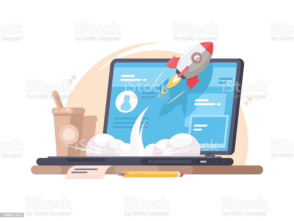 Successful launch of startup vector art illustration
