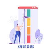 Successful man increasing credit rating. Concept of credit score, banking, good or bad bank rating. Vector illustration in flat design for UI, web banner, mobile app