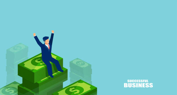 Successful man on heap of money Graphic design of businessman in isometric style sitting on tall pile of dollars celebrating victory on blue background millionnaire stock illustrations