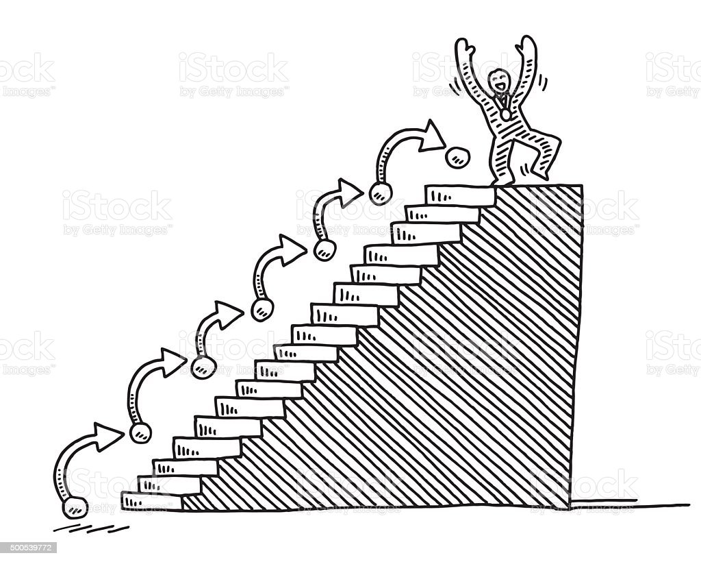 Successful Man On Top Of Stairs Drawing vector art illustration