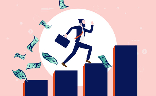 Successful modern businessman - Hipster worker with briefcase running up a rising graph while money is flying around