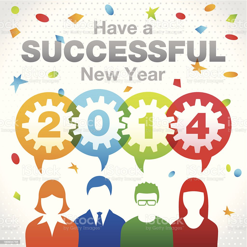 Successful New Year 2014 - Teamwork Concept royalty-free successful new year 2014 teamwork concept stock vector art & more images of 2014