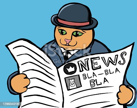 istock Successful orange cat in grey business suit reading a newspaper. 1299340187