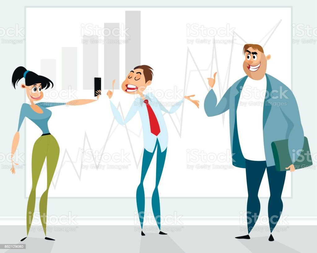 Successful presentation of the employee vector art illustration