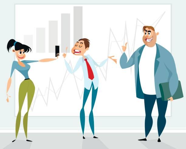 Successful presentation of the employee vector art illustration