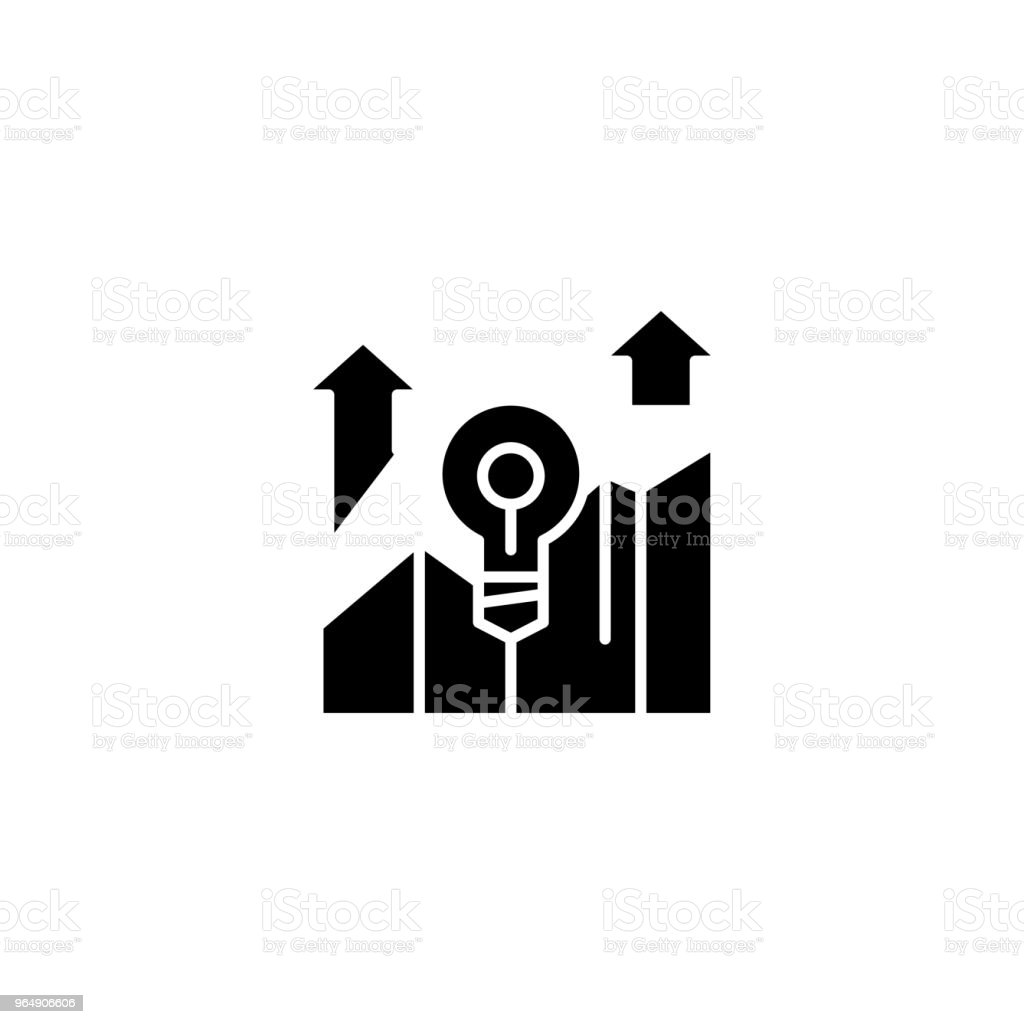 Successful project black icon concept. Successful project flat  vector symbol, sign, illustration. royalty-free successful project black icon concept successful project flat vector symbol sign illustration stock vector art & more images of analyzing