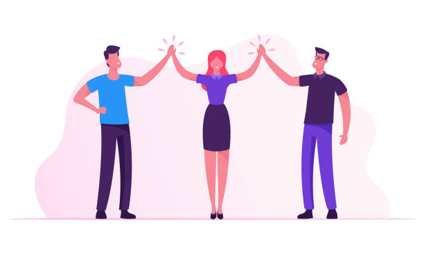 Successful Project Deal Victory Goal Achievement. Business Colleagues Giving Highfive in Office. Male and Female Businesspeople Characters Rejoice for Good Job done. Cartoon Flat Vector Illustration Successful Project Deal Victory Goal Achievement. Business Colleagues Giving Highfive in Office. Male and Female Businesspeople Characters Rejoice for Good Job done. Cartoon Flat Vector Illustration highfive vectors stock illustrations