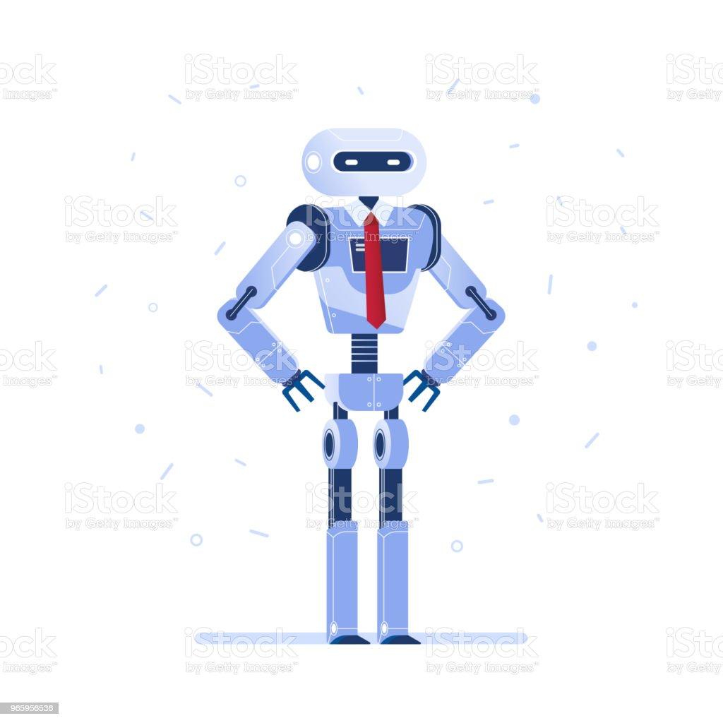 Succesvolle robot zakenman met een gelijkspel - Royalty-free Automatisch vectorkunst