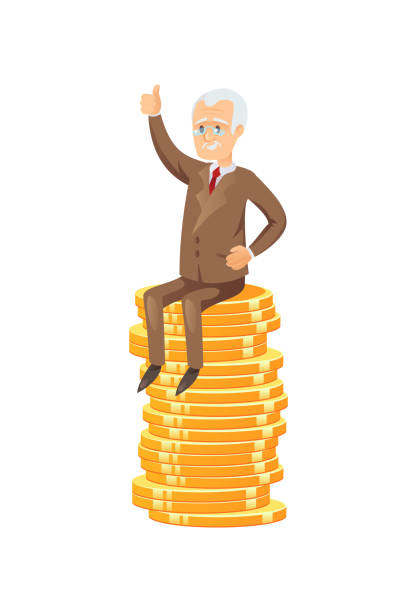 successful senior businessman on coin stack - old man showing thumbs up cartoons stock illustrations, clip art, cartoons, & icons