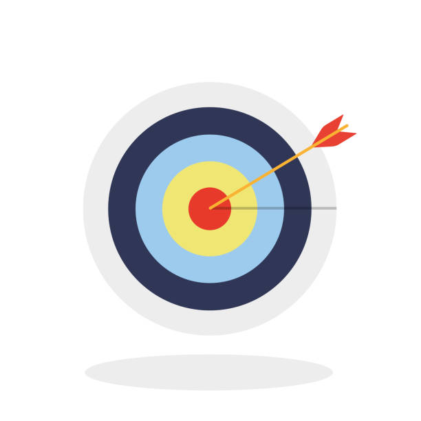 Successful shoot. Darts target aim icon on white background. Vector illustration. Successful shoot. Darts target aim icon on white background. Vector illustration. bull's eye stock illustrations