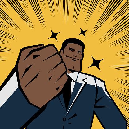 Successful smiling african-american ethnicity businessman gesturing fist, retro macho