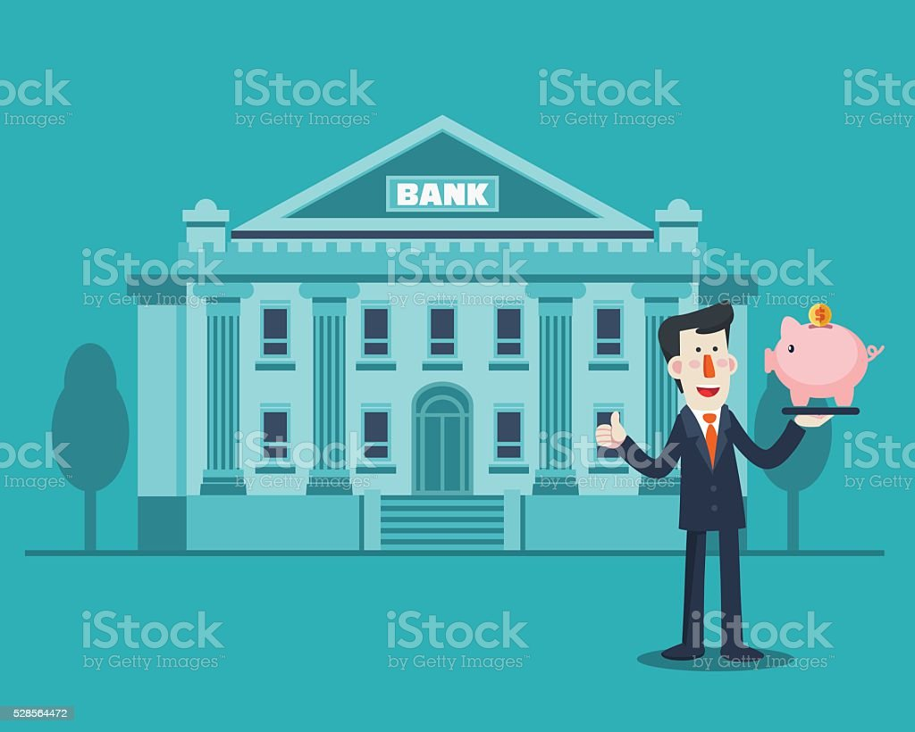 Successful smiling business man with a piggy bank vector art illustration