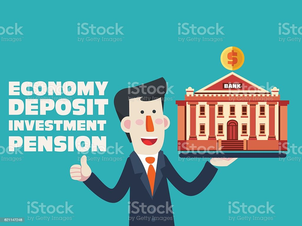 Successful smiling business man with bank building vector art illustration