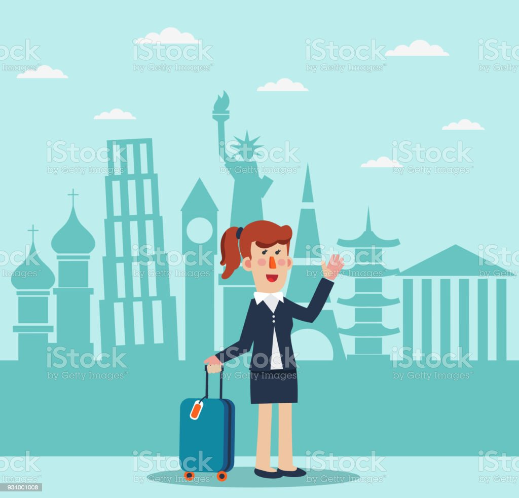 Successful, smiling business woman with suitcase and diversity famous monuments vector art illustration