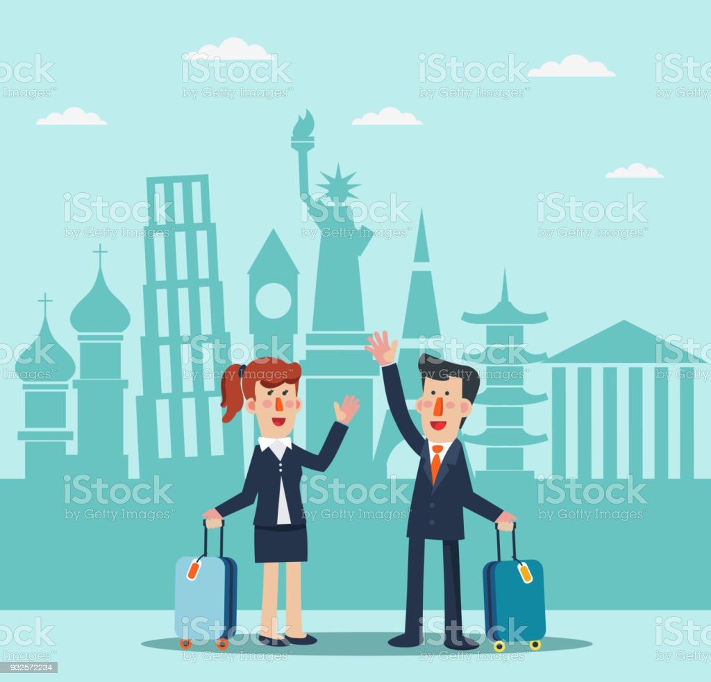 Successful, smiling businessman and business woman with suitcase and diversity famous monuments vector art illustration