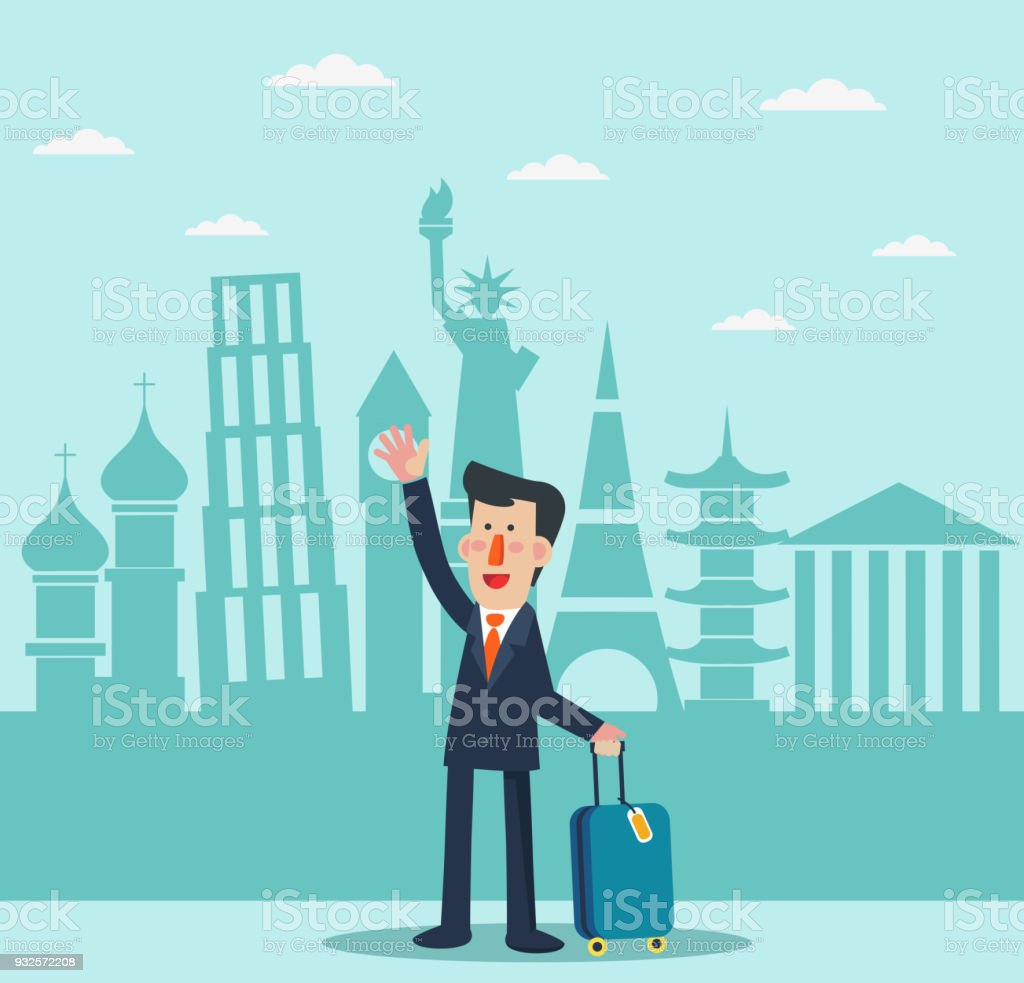 Successful, smiling businessman with suitcase and diversity famous monuments. Global travel and journey modern illustration. International business travel and adventure vector concept vector art illustration
