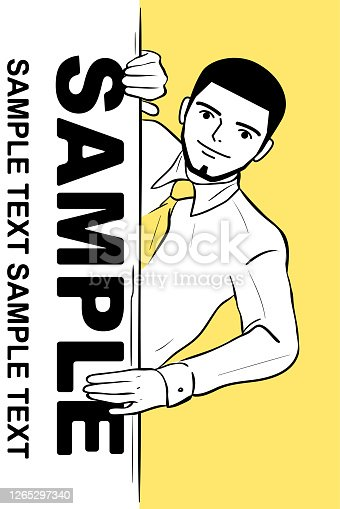 Manga style characters vector art illustration. Successful smiling young man (businessman, entrepreneur, art agent or financial advisor) with the crewcut is behind a blank sign (wall).