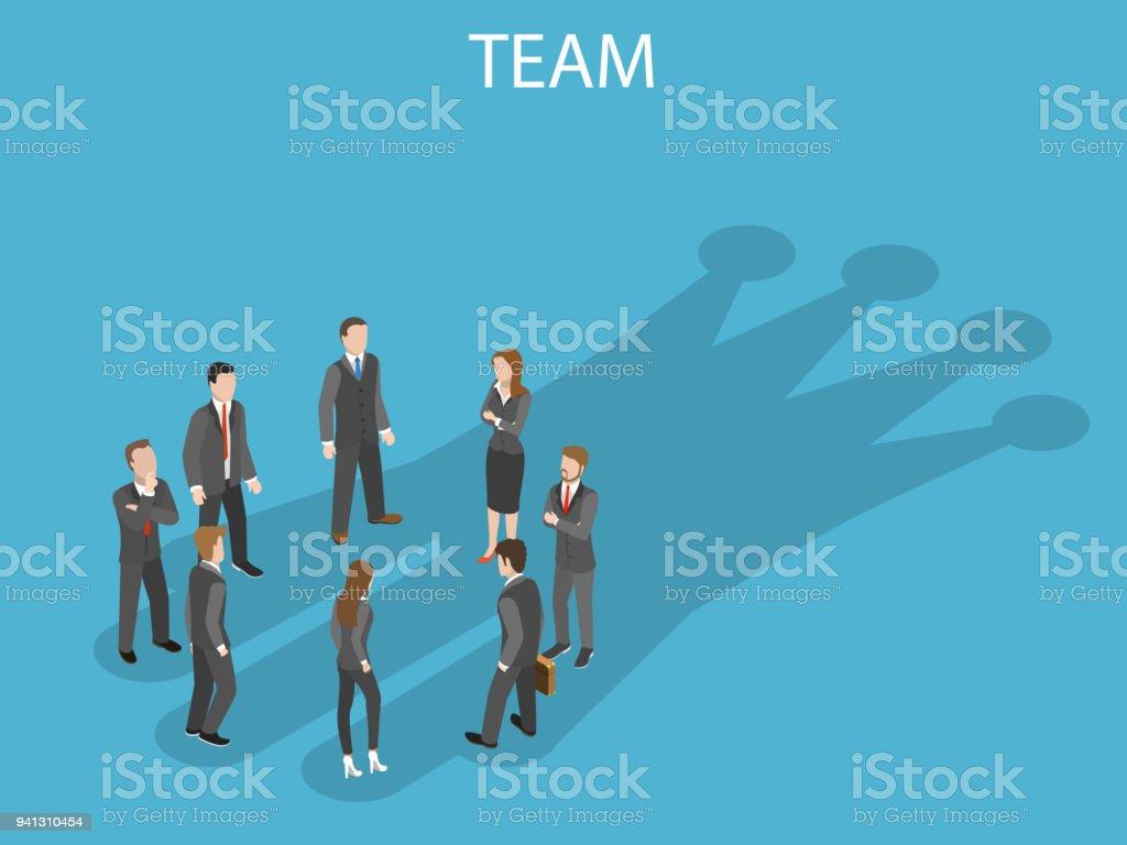 Successful team flat isometric vector concept. vector art illustration
