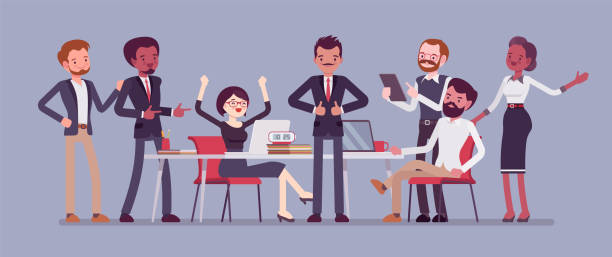 Successful team gathering vector art illustration