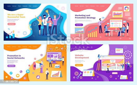 Successful team, promotion in social networks vector. Marketing strategy and programming, people holding prize trophy. Seo optimization of websites