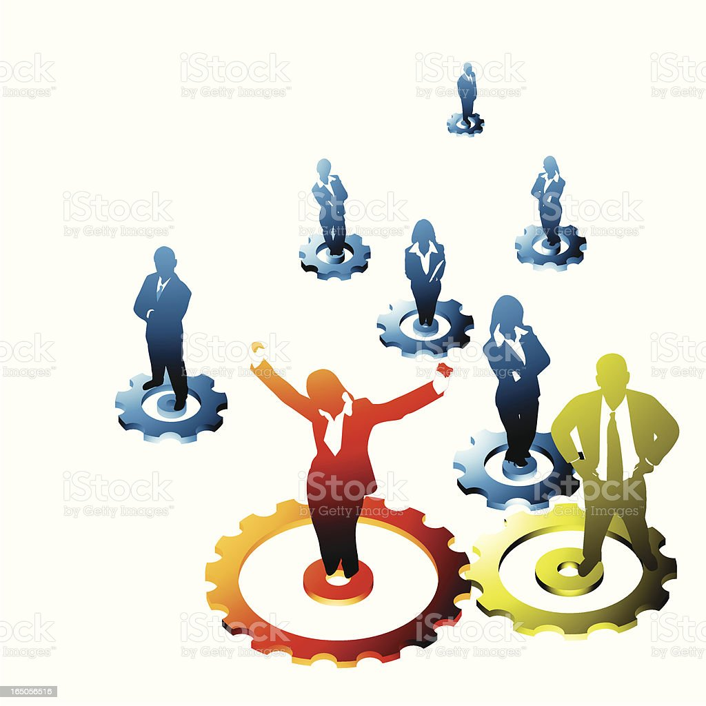 Successful team with enthusiastic woman in front royalty-free stock vector art