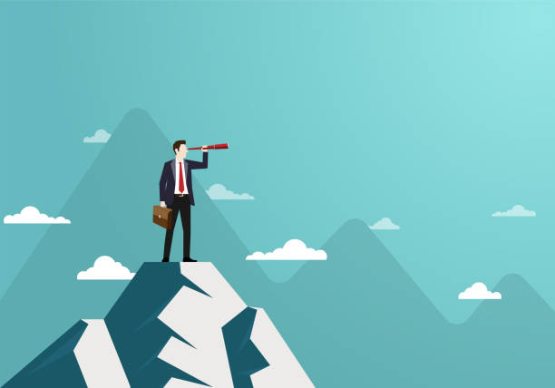Successful vision concept with character of businessman and telescope Business finance, Successful vision concept with character of businessman and telescope, A man standing on top of mountain, Looking of sucess, Leadership, Business Startup, Vector illustration flat mountain peak stock illustrations