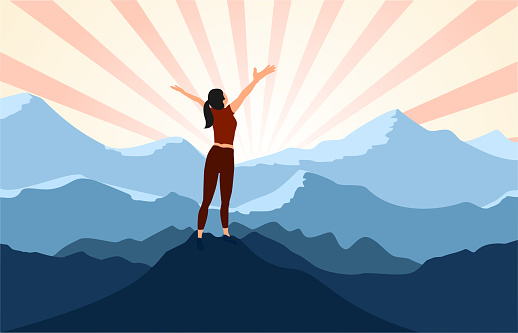 successful woman hiker enjoy  the view with arms open on cliff edge top of mountain.