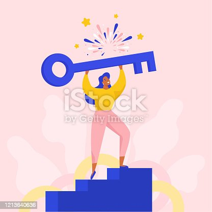 istock Successful woman holding a big key to open new solutions. 1213640636
