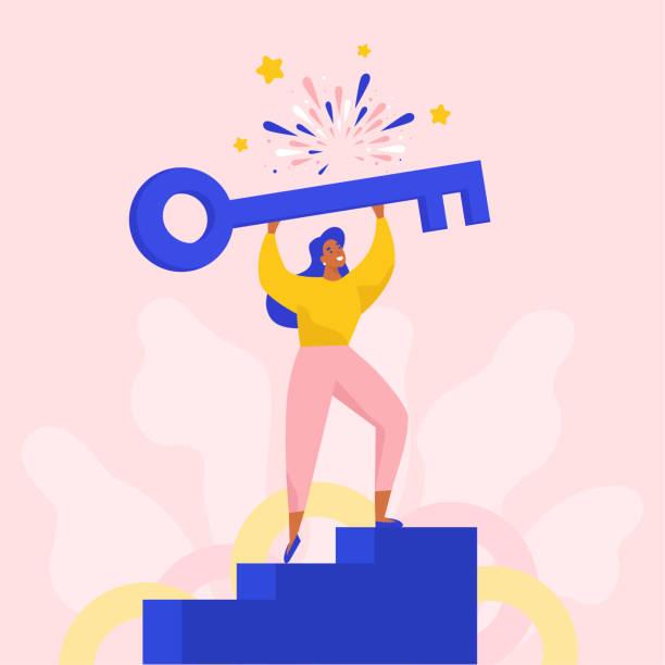 odnosząca sukcesy kobieta trzymająca duży klucz do otwierania nowych rozwiązań. - aspiracje stock illustrations