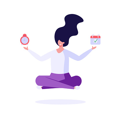 Successful woman in lotus position controls tasks and time. Concept of time management, deadline, self control, self discipline. Vector illustration in flat cartoon design