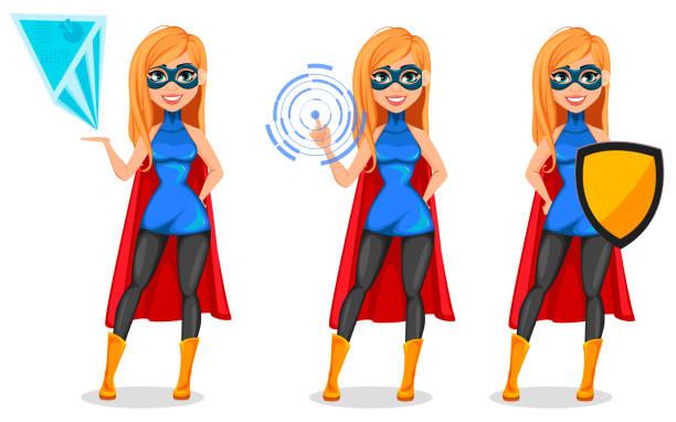 ilustrações de stock, clip art, desenhos animados e ícones de successful woman wearing superhero costume - business woman hologram