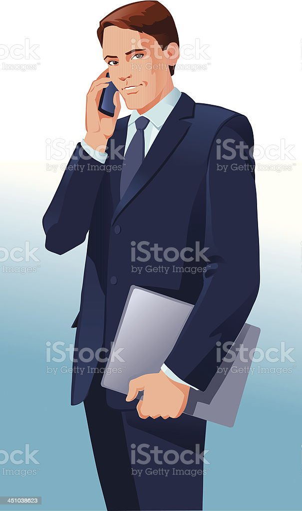 Successful Young Businessman on Phone royalty-free successful young businessman on phone stock vector art & more images of adult