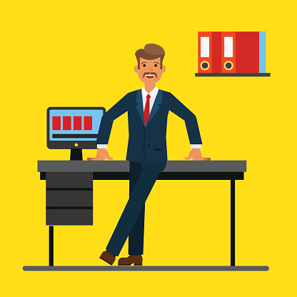 Successfull businessman standing near office table. Flat vector illustration