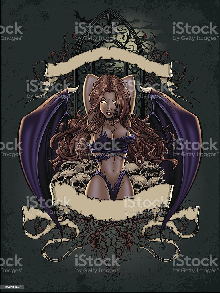 Succubus Pinup in Bed of Skulls royalty-free stock vector art