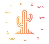 Succulent plant outline style icon design with decorations and gradient color. Line vector icon illustration for modern infographics, mobile designs and web banners.