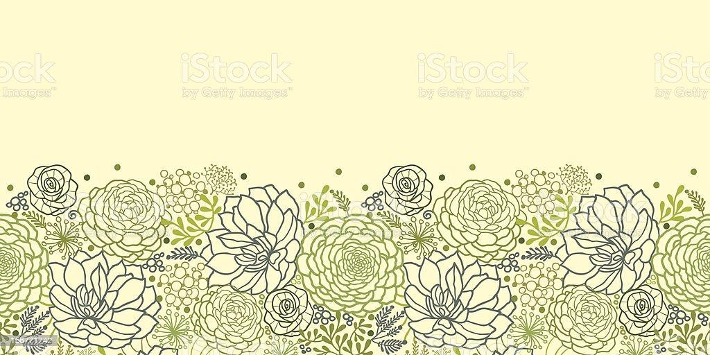 Ornamento sem emendas horizontais e plantas suculentas - ilustração de arte em vetor