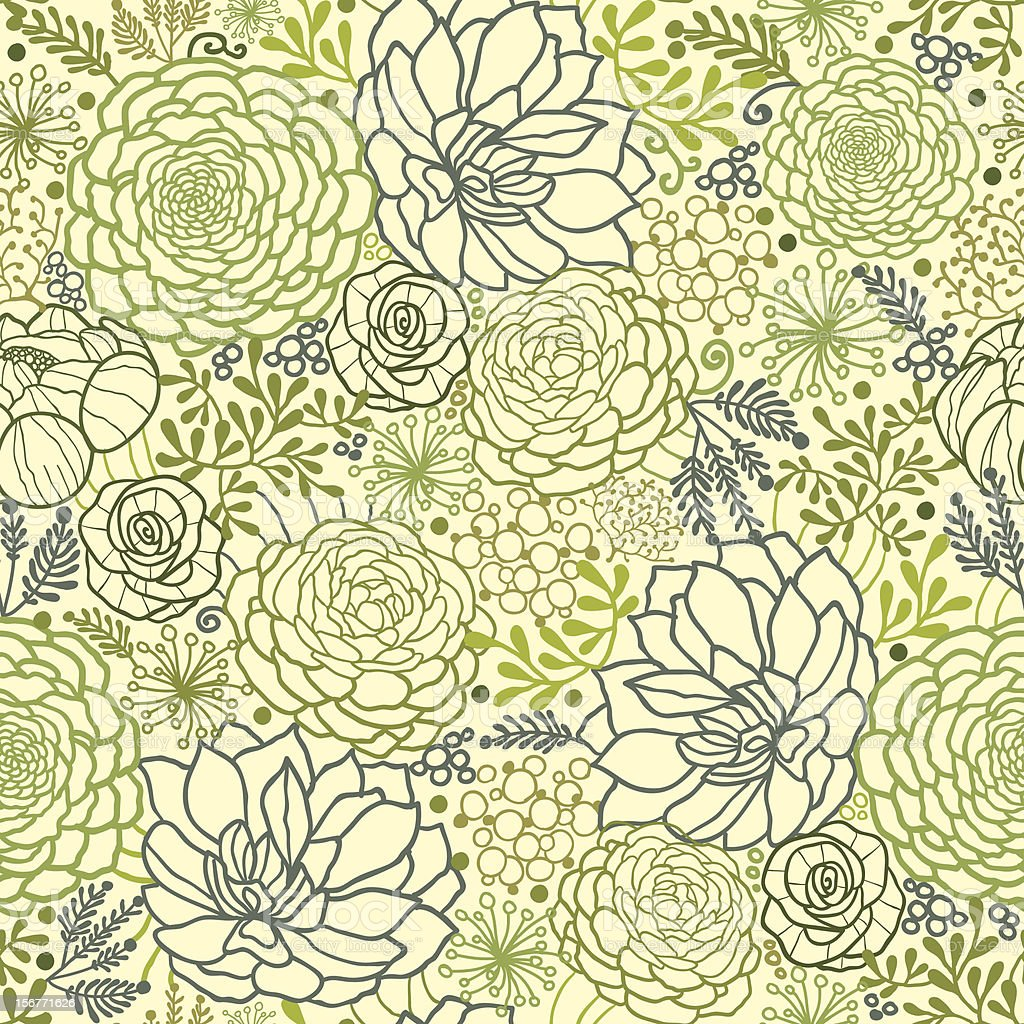 Succulent Plants Seamless Pattern Background royalty-free stock vector art