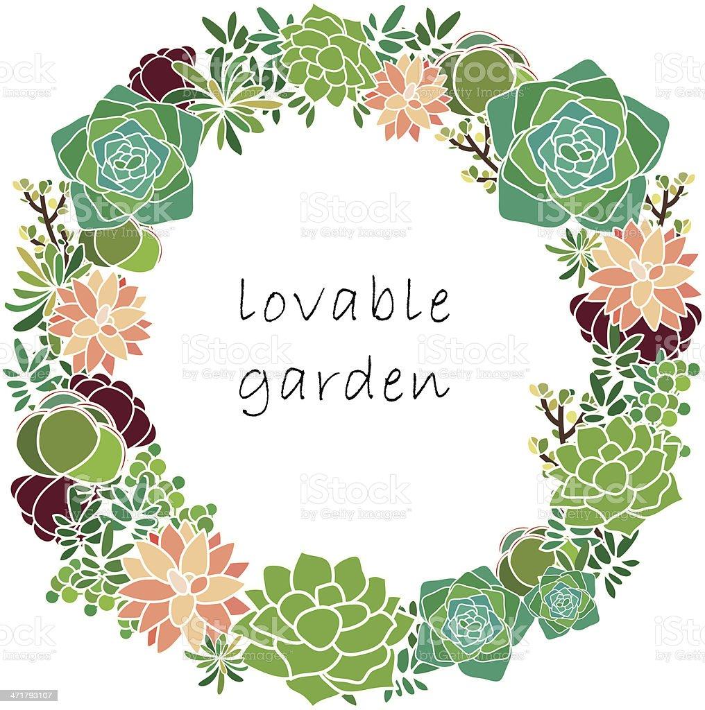 Succulent Spring wreath vector art illustration