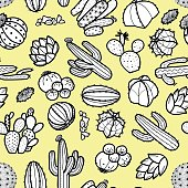 Succulents and cactus in black outline on pastel yellow background. Hand drawn style. Seamless pattern vector illustration.