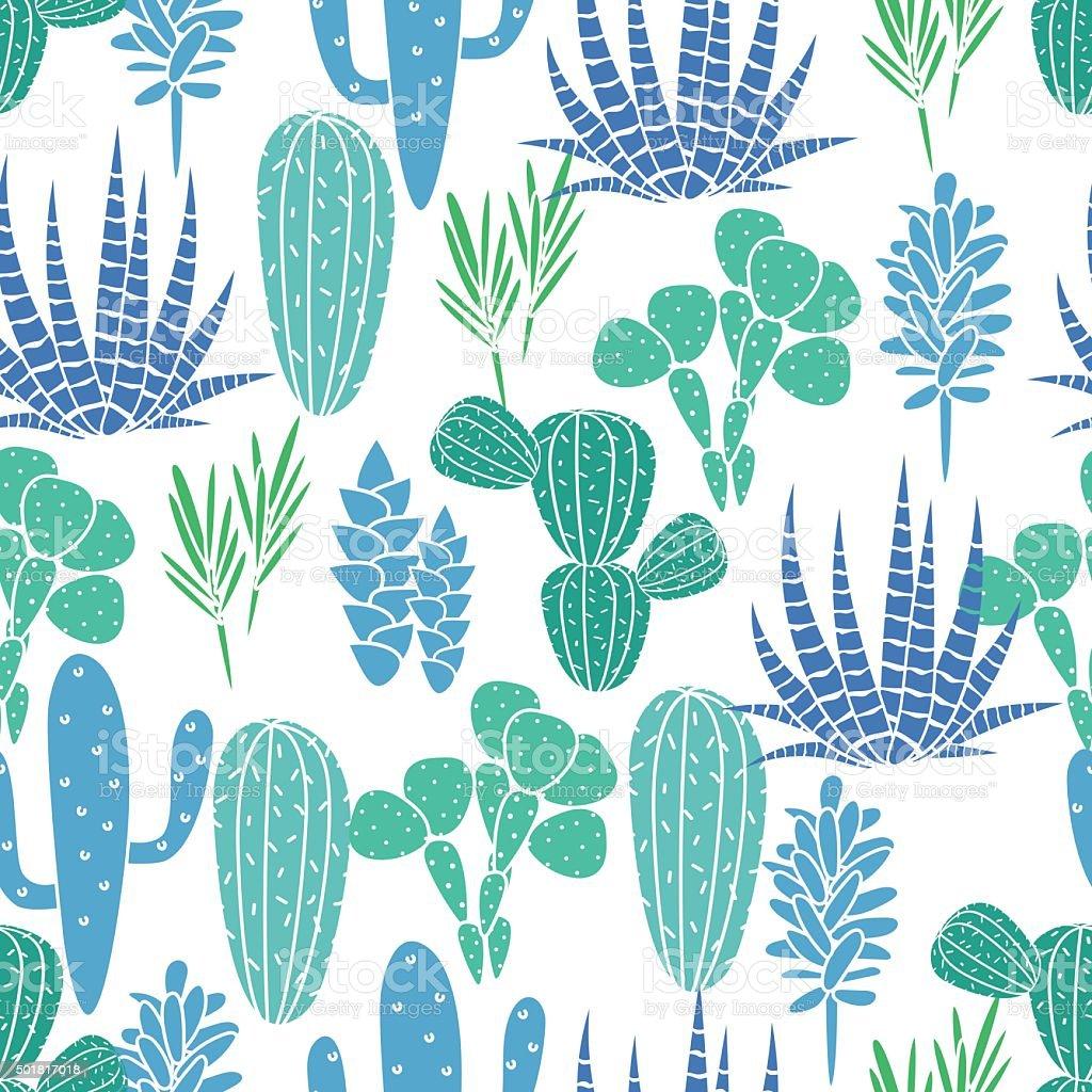 Plantas suculentas planta vector patrón sin costuras. Botánica azul y verde cactus - ilustración de arte vectorial
