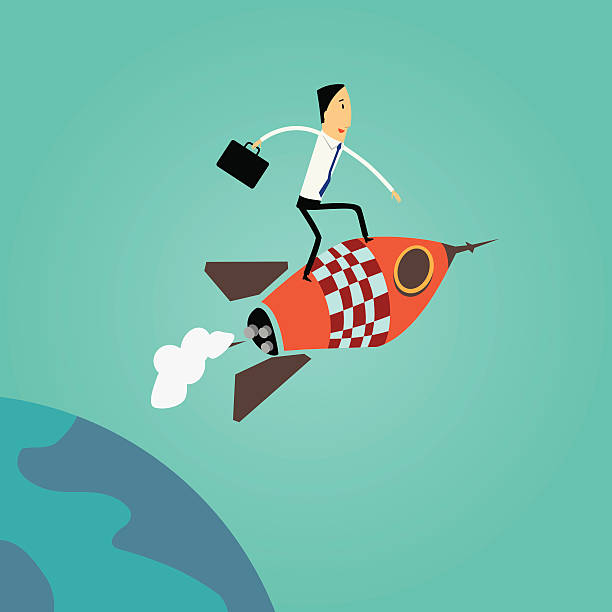 Sucessful businessman flying to success vector art illustration
