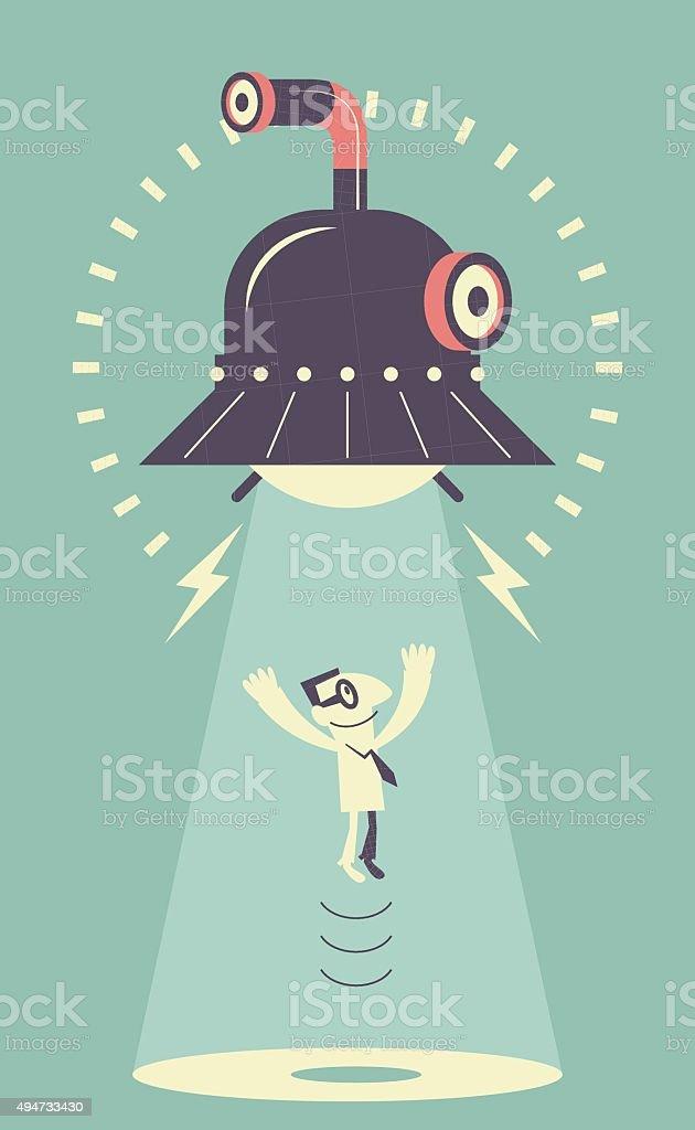 UFO sucking up a man vector art illustration