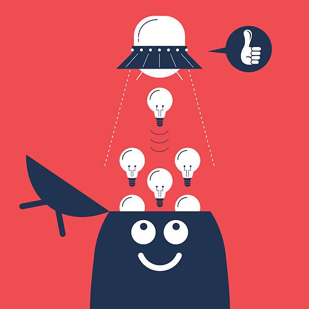 ufo saugen bis idee glühbirne vom mann's öffneten head - kopfleuchten stock-grafiken, -clipart, -cartoons und -symbole