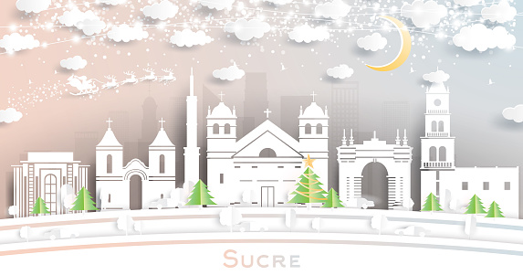Sucre Bolivia City Skyline in Paper Cut Style with Snowflakes, Moon and Neon Garland.