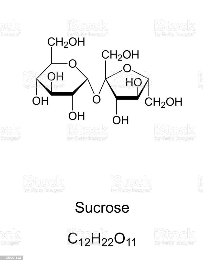 Sucrose, common sugar, chemical structure and formula Sucrose, common sugar, chemical structure. Disaccharide composed of the two monosaccharides glucose and fructose. For human consumption it is extracted and refined from sugarcane or sugar beet. Vector Austria stock vector