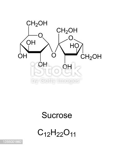 Sucrose, common sugar, chemical structure. Disaccharide composed of the two monosaccharides glucose and fructose. For human consumption it is extracted and refined from sugarcane or sugar beet. Vector